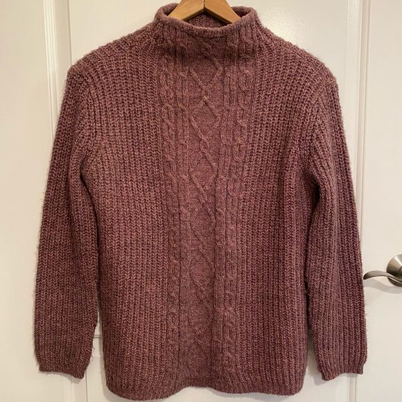 Mock Turtleneck Wool Blend Cable Knit Sweater